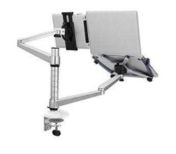 2台設置できるLoctekのモニターアームでテーブル広々。